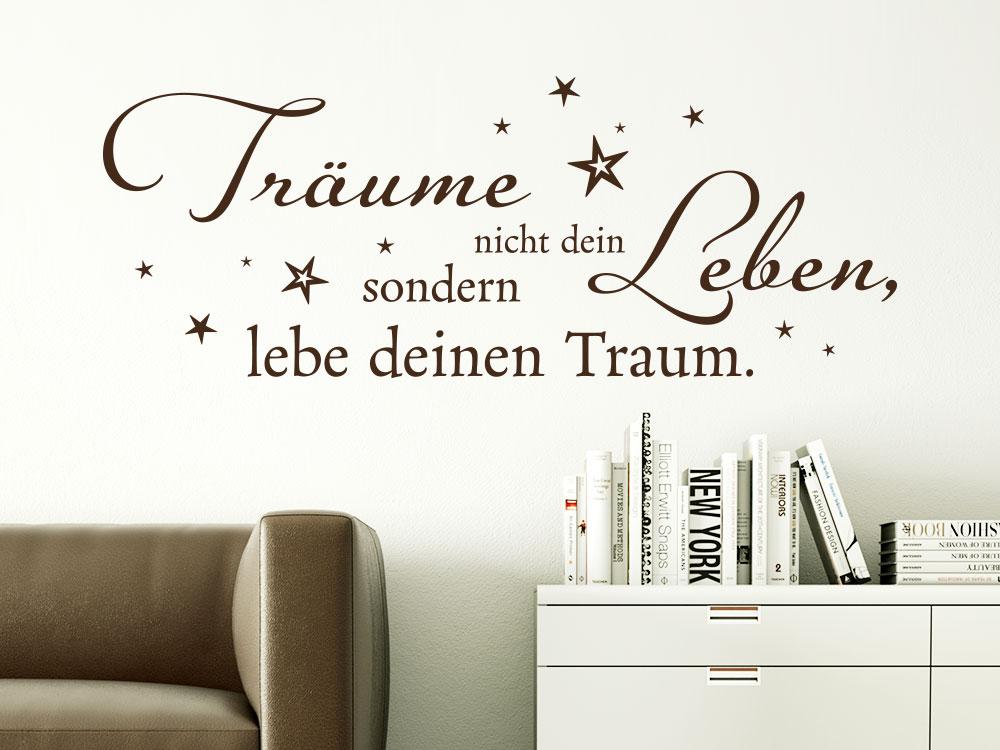 Wandtattoo Lebe deinen Traum über Bücherregal