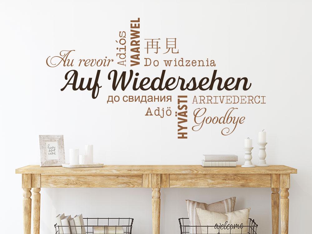 Wandtattoo Auf Wiedersehen in verschiedenen Sprachen