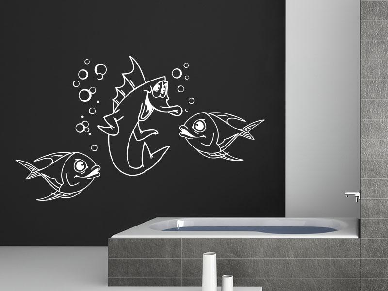 Wandtattoo Unterwasserwelt mit lachenden Fischen