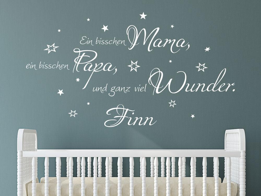 Wandtattoo Ein bisschen Mama, ein bisschen Papa und ganz viel Wunder auf dunkler Wand