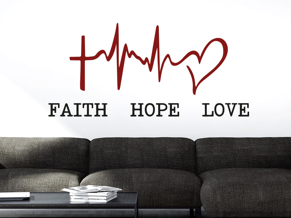 Wandtattoo Symbol Faith Hope Love