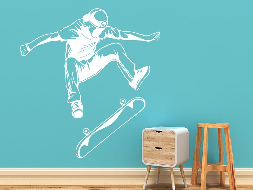 Wandtattoo Skater mit Skateboard beim Sprung