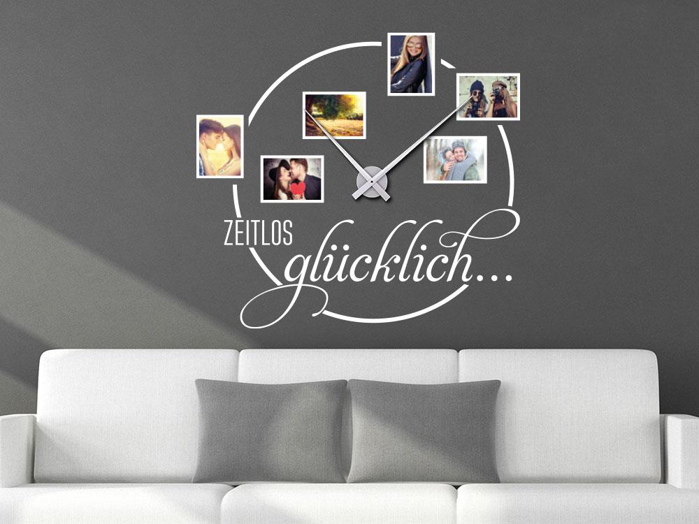 Fotorahmen Wandtattoo Uhr Zeitlos glücklich im Wohnzimmer Farbe Weiß