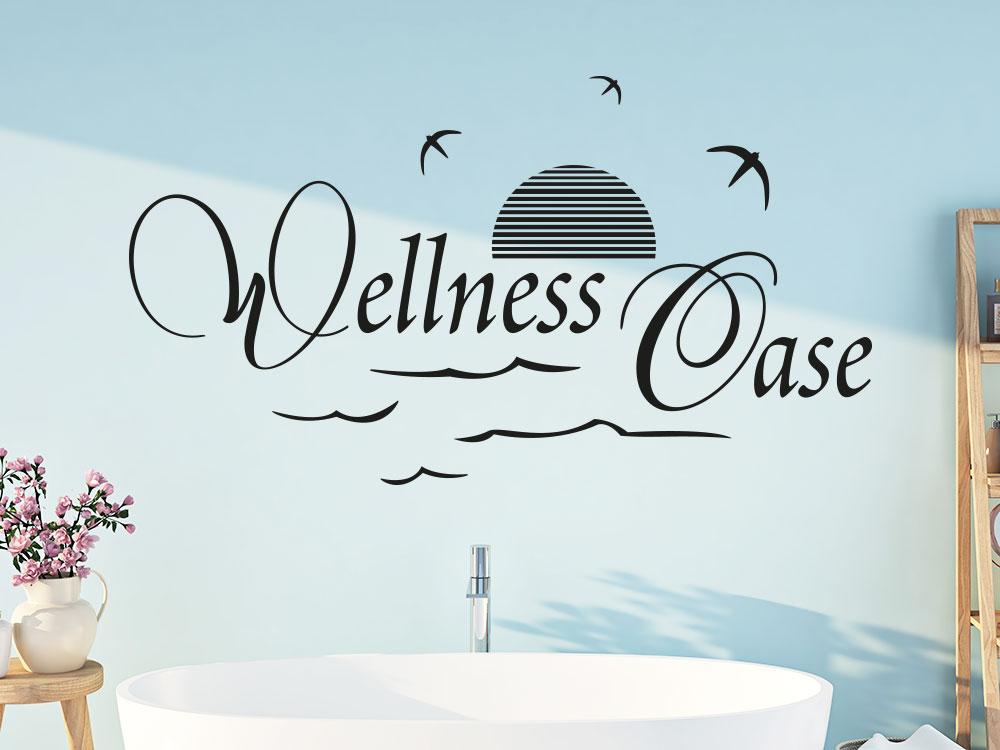 Wandtattoo Wellness Oase mit Möwen im Badezimmer