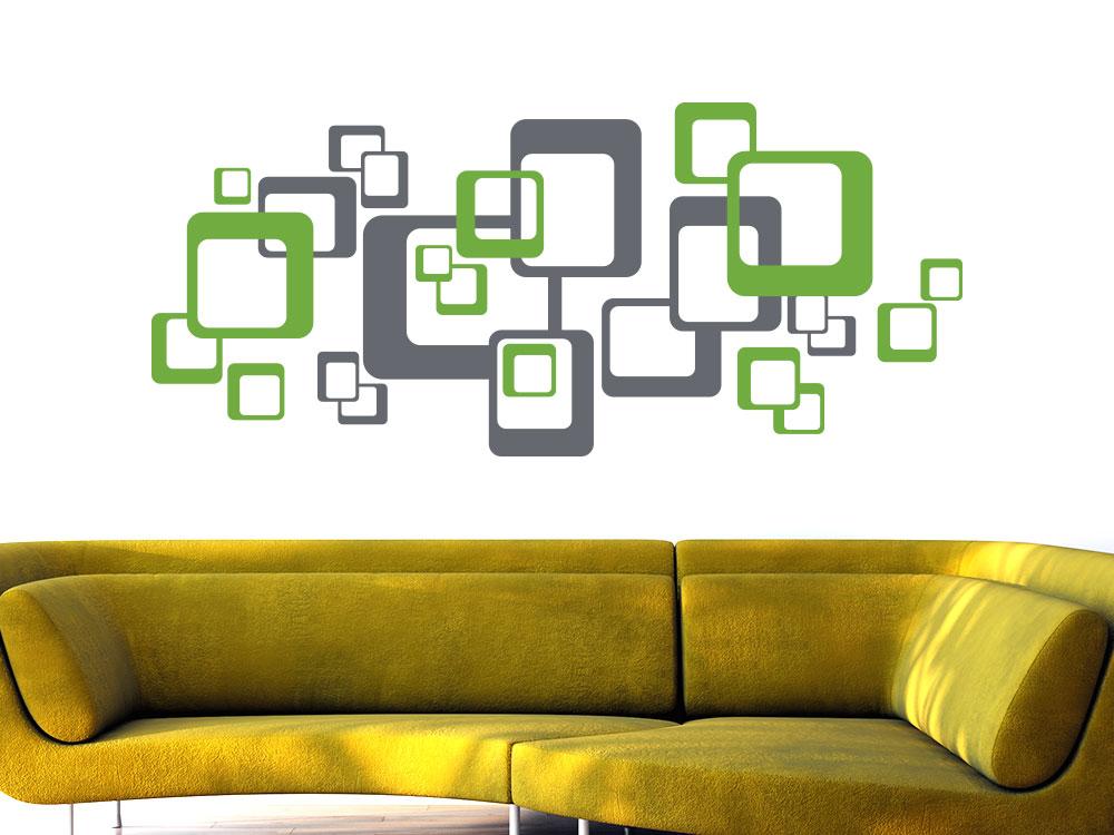 Retro Wandtattoo Cubes zweifarbig in grau und grün