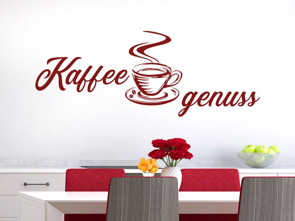 Wandtattoo Kaffeegenuss mit dampfender Tasse