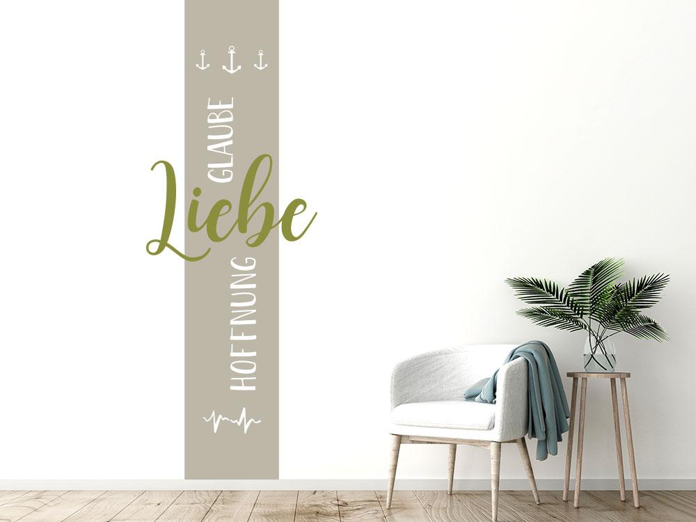 Wandtattoo Glaube Liebe Hoffnung Wandbanner in den Farben Sandgrau / Oliv