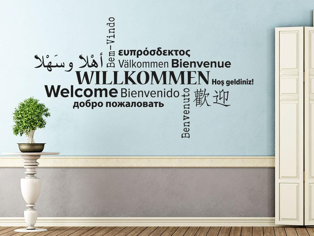 Willkommen Wandtattoo Sprachen