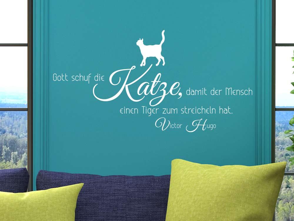 Wandtattoo Gott schuf die Katze Spruch über Katzen