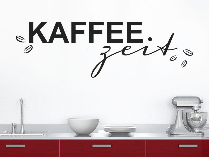 Wandtattoo Kaffeezeit mit Bohnen