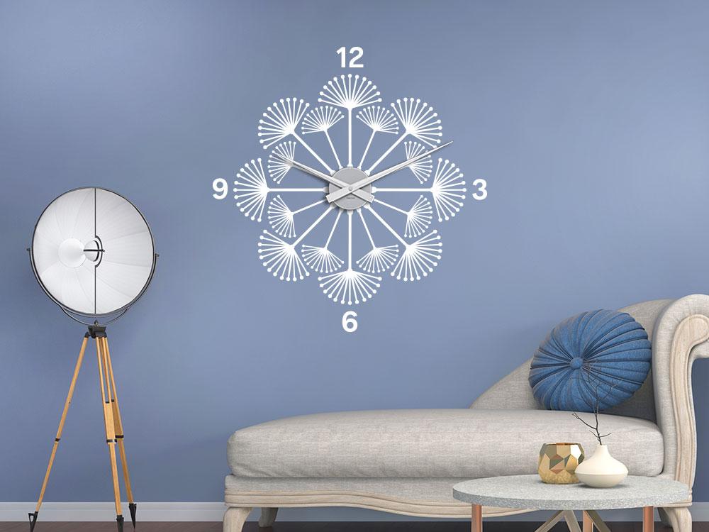 Wandtattoo Uhr Pusteblume im Wohnzimmer über Sofa