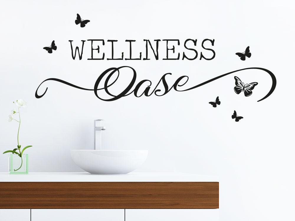 Wandtattoo Wellness Oase Butterfly in schwarz