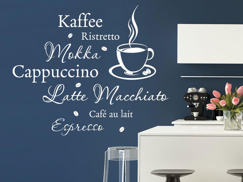 Wandtattoo Kaffee mit dampfender Tasse auf dunkler Wand