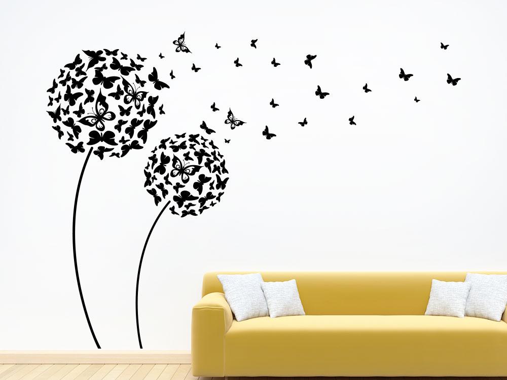 Wandtattoo Pusteblume Schmetterlinge