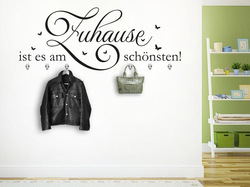 Wandtattoo Garderobe Zuhause ist es am schönsten