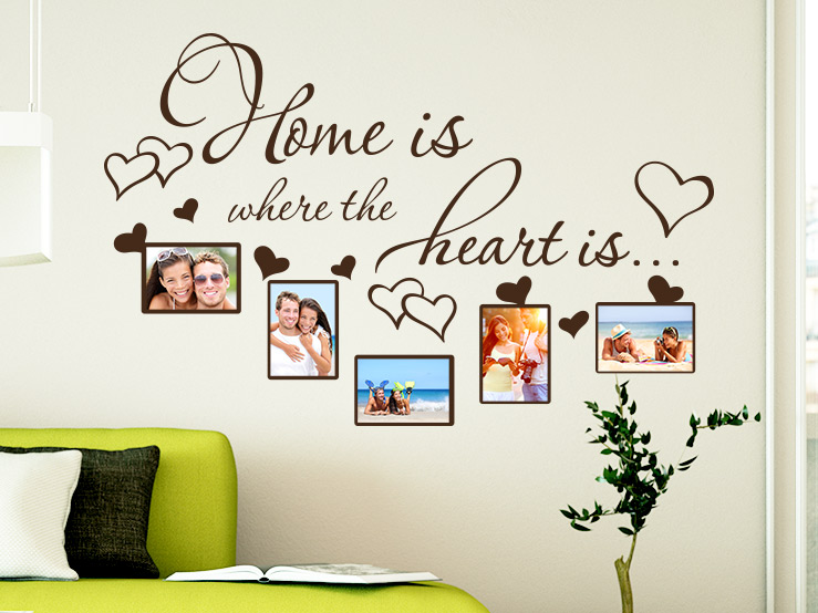 Wandtattoo Fotorahmen - Home is where the heart is - auf Wohnzimmerwand
