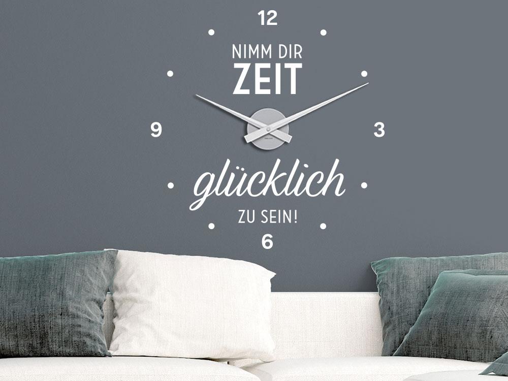 Wandtattoo Uhr mit Spruch Nimm dir Zeit glücklich zu sein