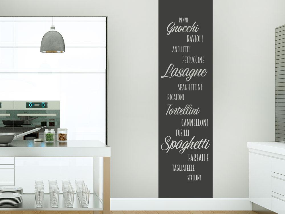 Wandtattoo Banner Nudelsorten auf Küchenwand in schwarz