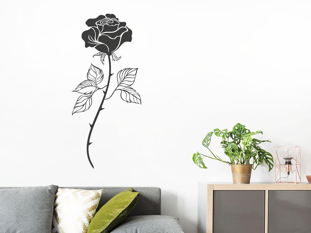 Wandtattoo Rose mit Blüte