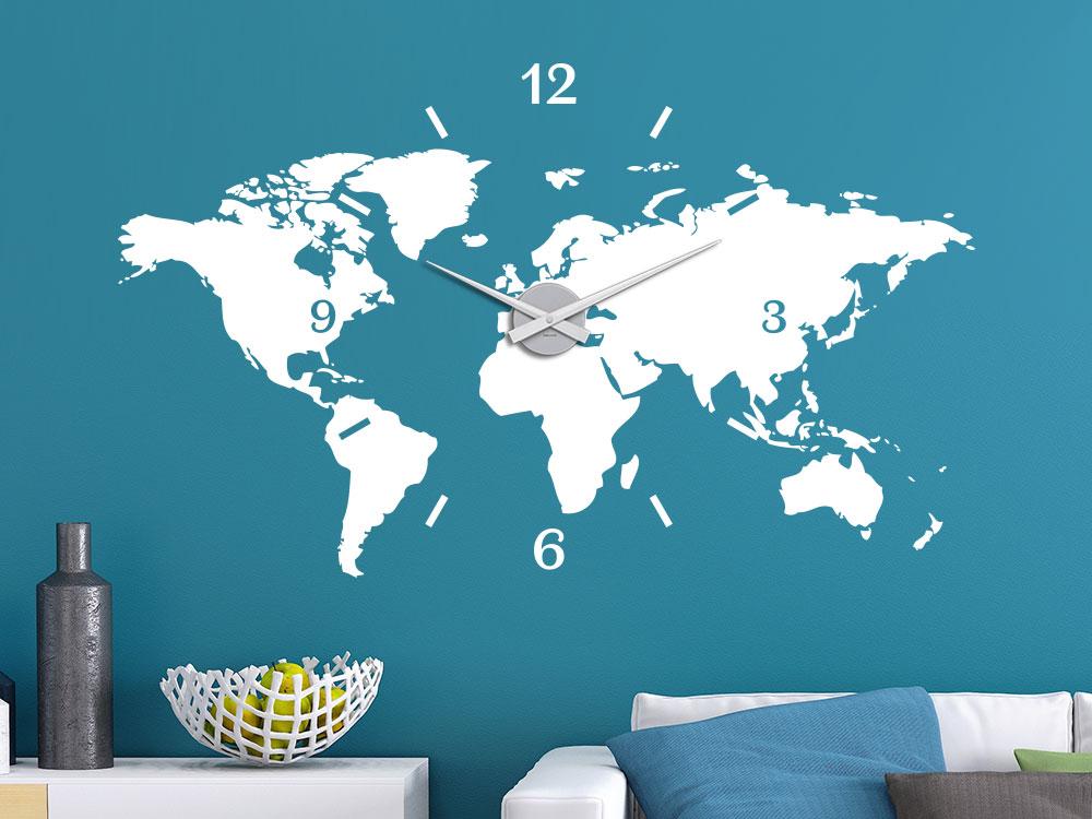 Wandtattoo Weltkarte Uhr ausgefallene Wanddeko Wohnzimmer