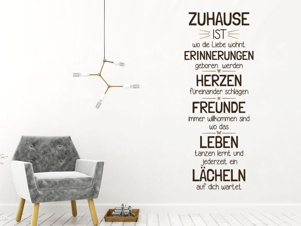 Wandtattoo Spruch Zuhause ist wo die Liebe im Wohnzimmer