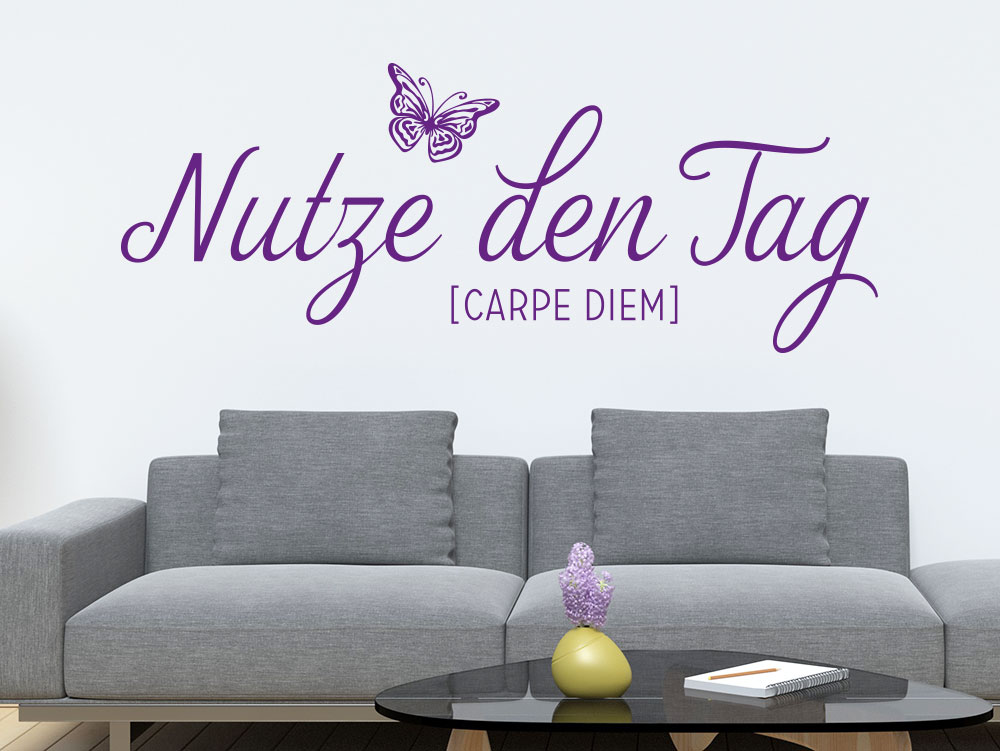 wandtattoo nutze den tag carpe diem no2 klebeheld de. Black Bedroom Furniture Sets. Home Design Ideas