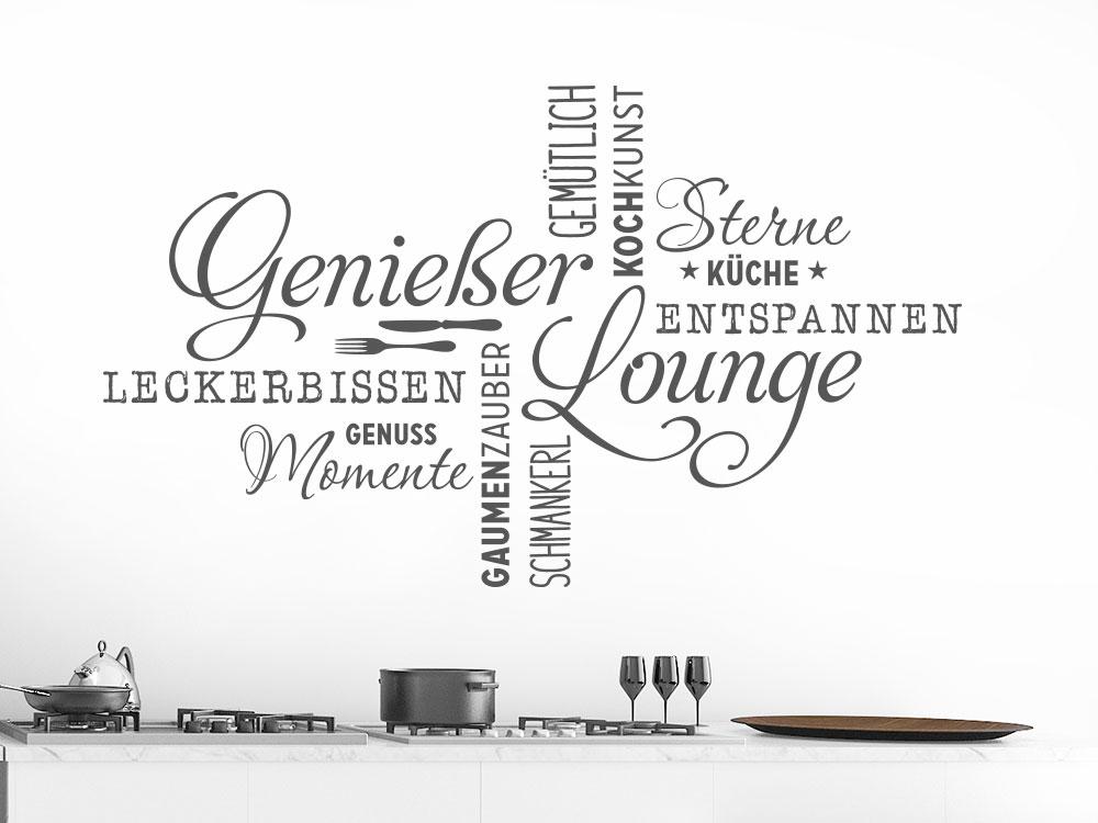 Wandtattoo Genießer Lounge Wortwolke in einer Küche auf heller Wand