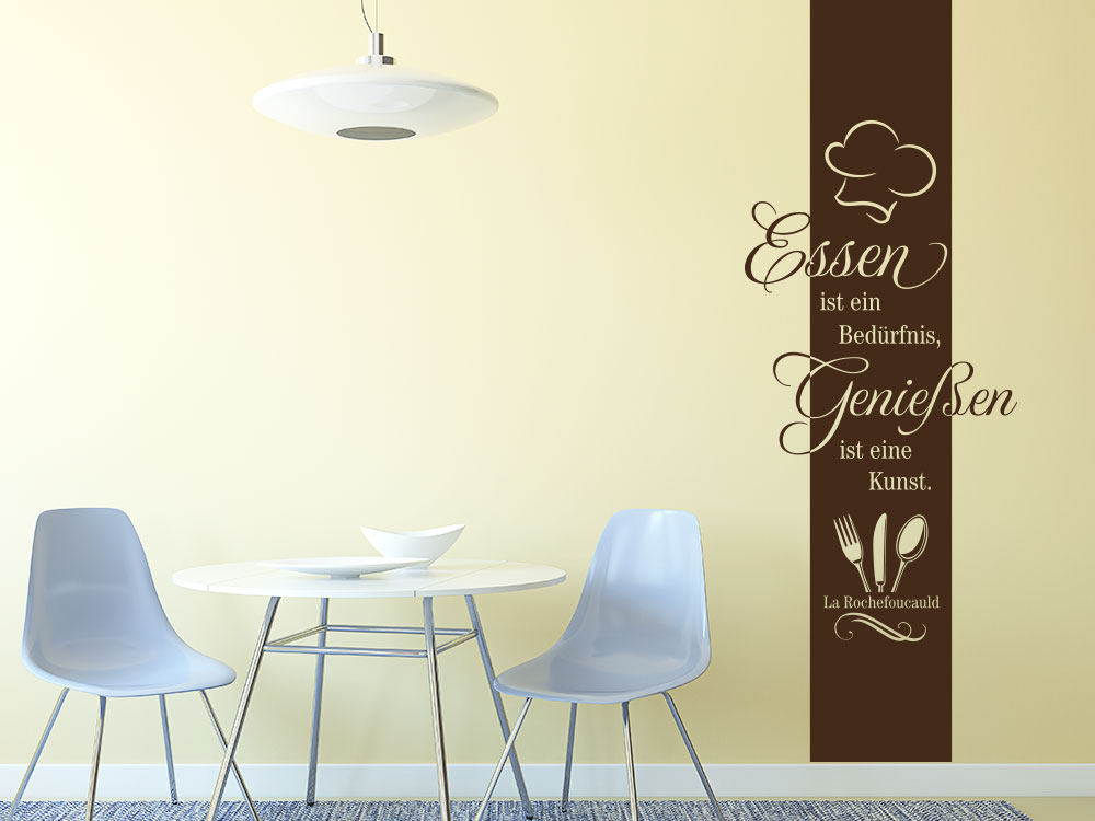 Wandtattoo Banner Essen ist ein Bedürfnis im Esszimmer neben Tisch