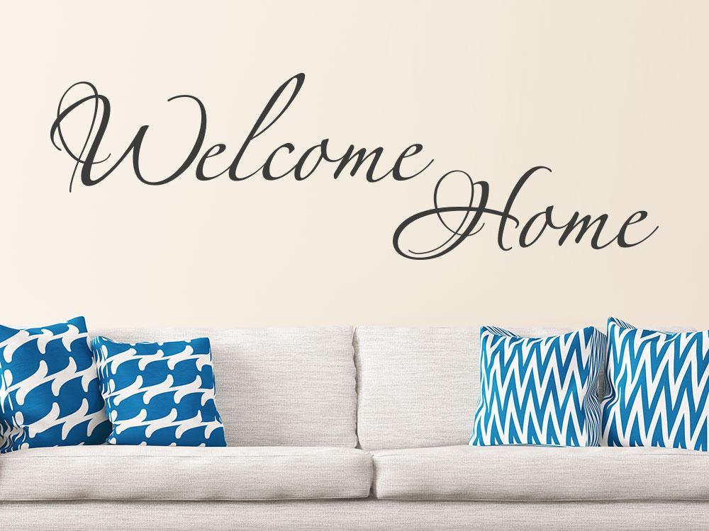 Wandtattoo Welcome Home Schriftzug auf hellbrauner Wand