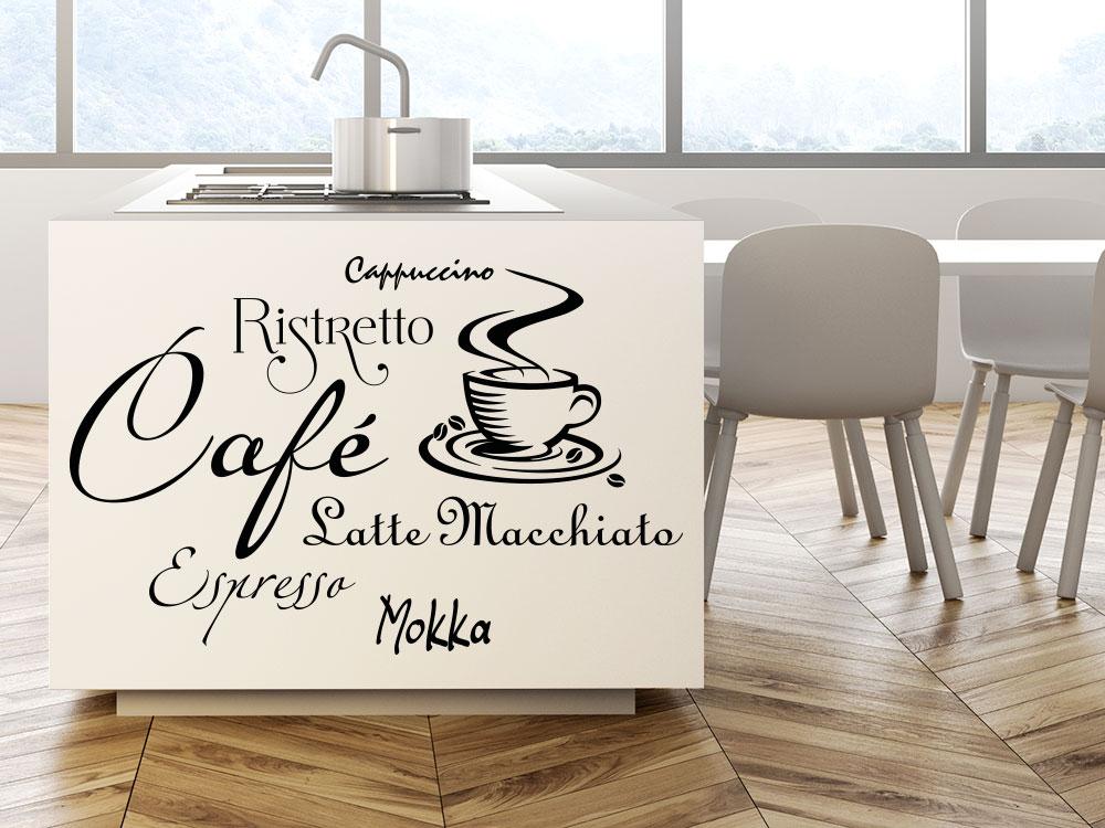 Wandtattoo Kaffee Begriffe