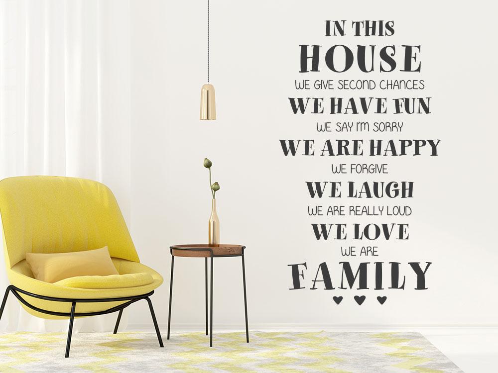 Englischer Wandtattoo Spruch In this house we love