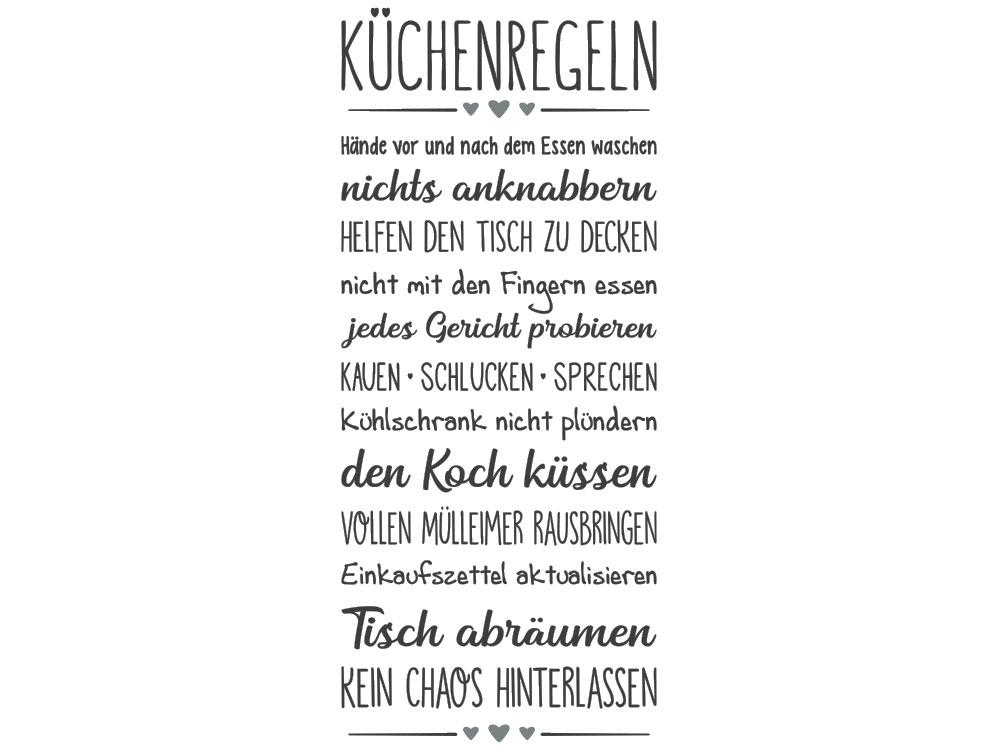 Wandtattoo Banner Küchenregeln - Gesamtansicht des Wandtattoos