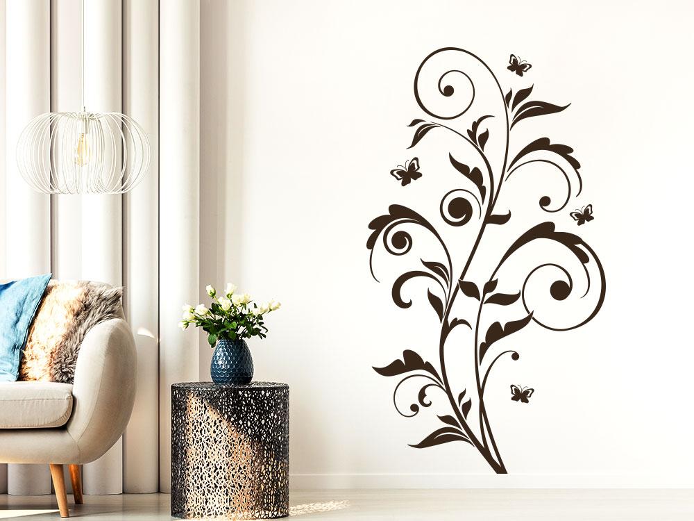 Wandtattoo Florales Ornament mit Schmetterlingen