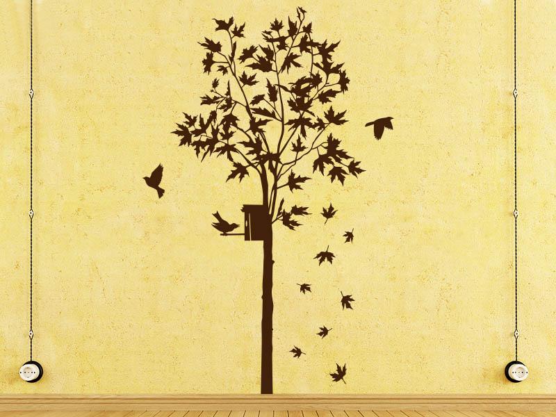 Wandtattoo Ahornbaum mit Vogelhaus