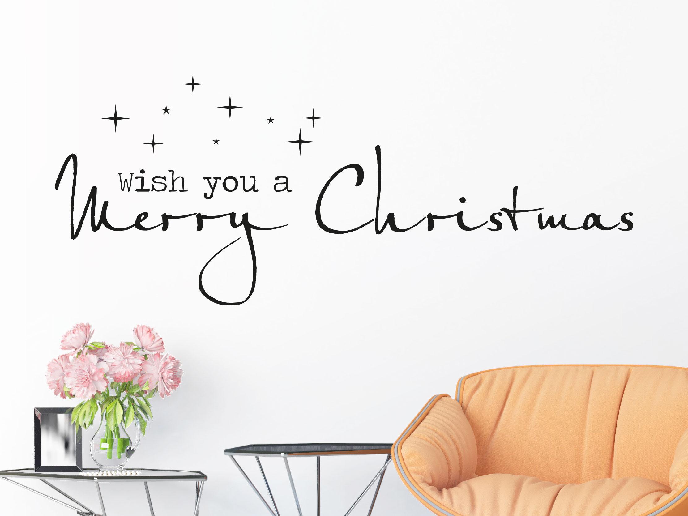 Wish you a merry Christmas Wandtattoo in schwarz