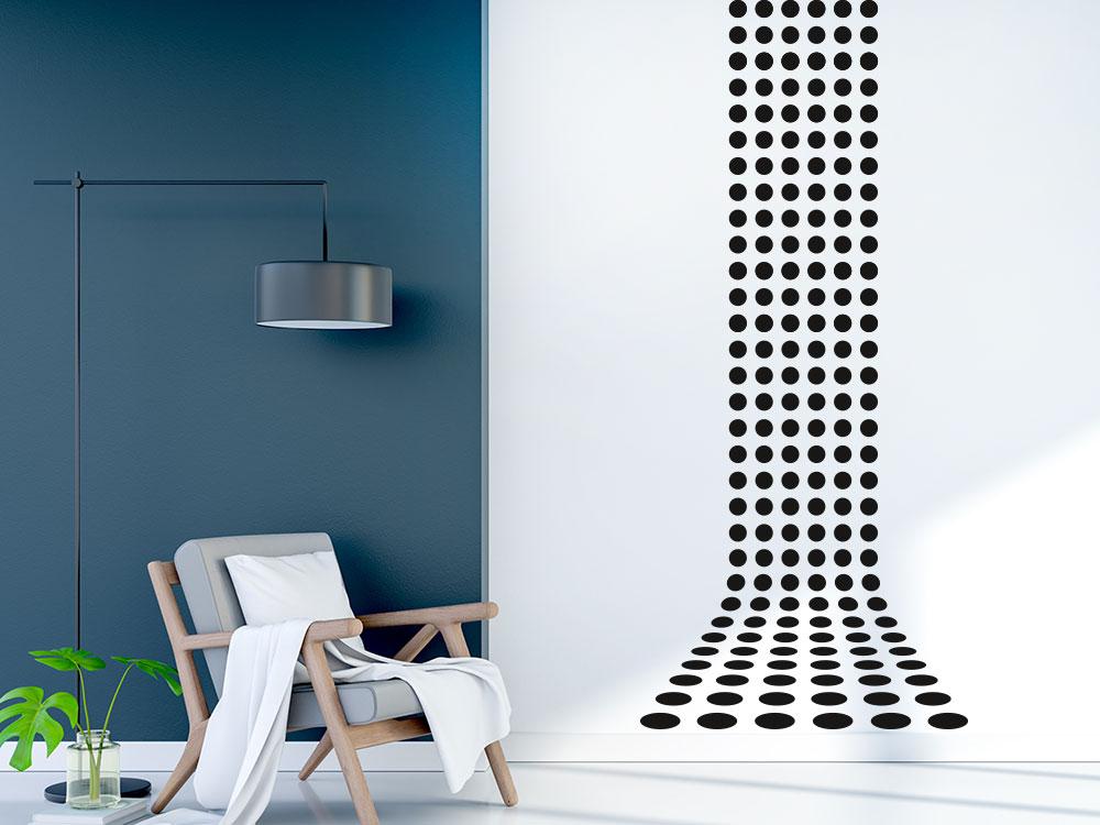 Wandbanner 3D Punkte perspektivische helle Wand