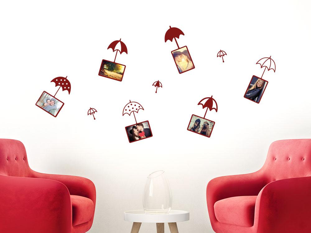 Zusatzrahmen Set Wandatttoo Fotorahmen Pusteblume Regenschirme
