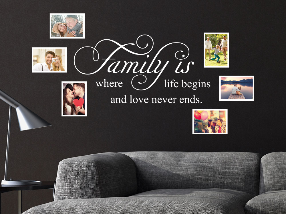 Wandtattoo Fotorahmen Family is where life begins im Wohnzimmer