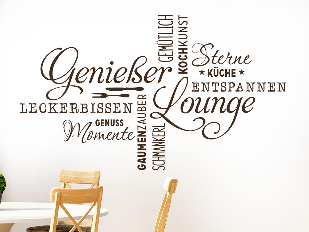 Wortwolke Genießer Lounge Wandtattoo in der Farbe braun im Esszimmern