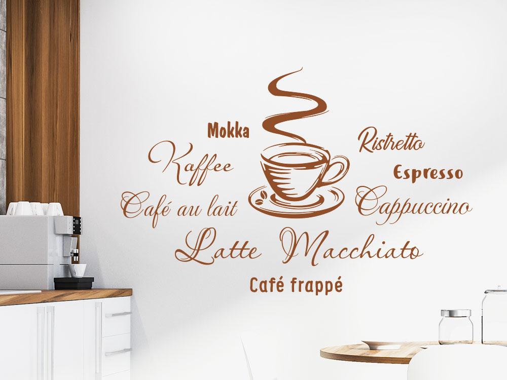 Wandtattoo Kaffee mit Tasse