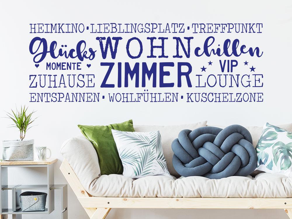 Wandtattoo Wortwolke Wohnzimmer Worte über Sofa