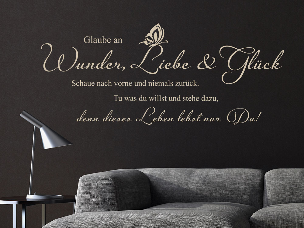wandtattoo glaube an wunder liebe und gl ck klebeheld. Black Bedroom Furniture Sets. Home Design Ideas