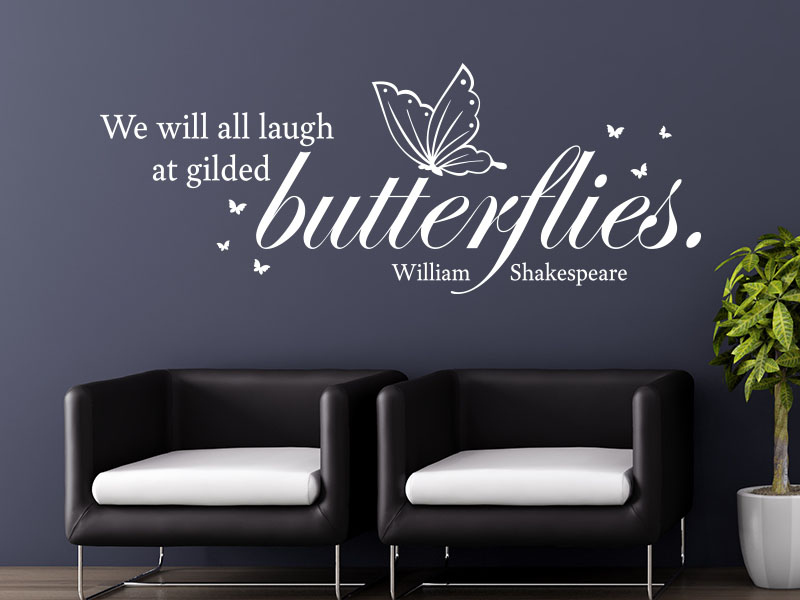 Wandtattoo We will all laugh at gilded Butterflies