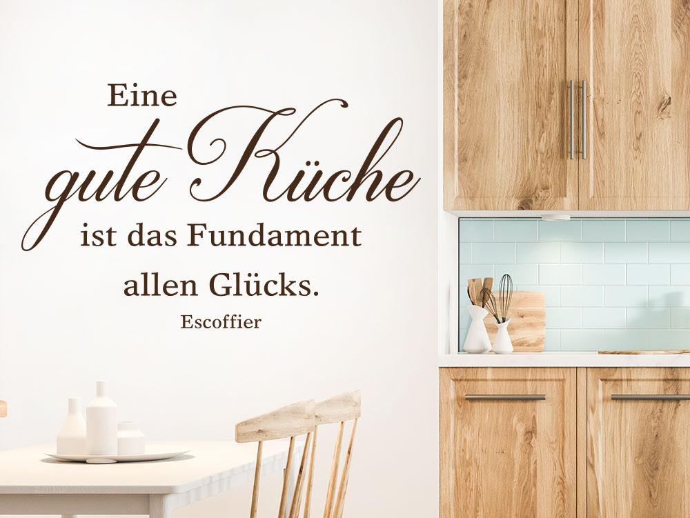 Wandtattoo Zitat Eine gute Küche ist das Fundament allen Glücks.