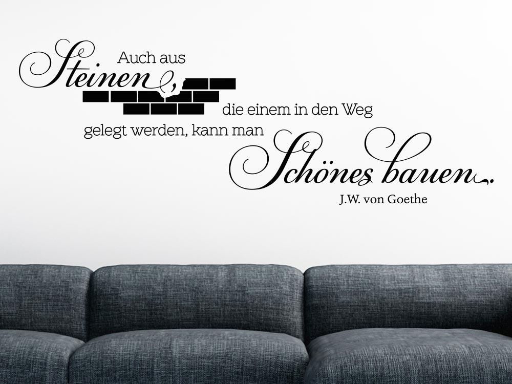 Wandtattoo Schönes bauen... Zitat Goethe im Wohnzimmer