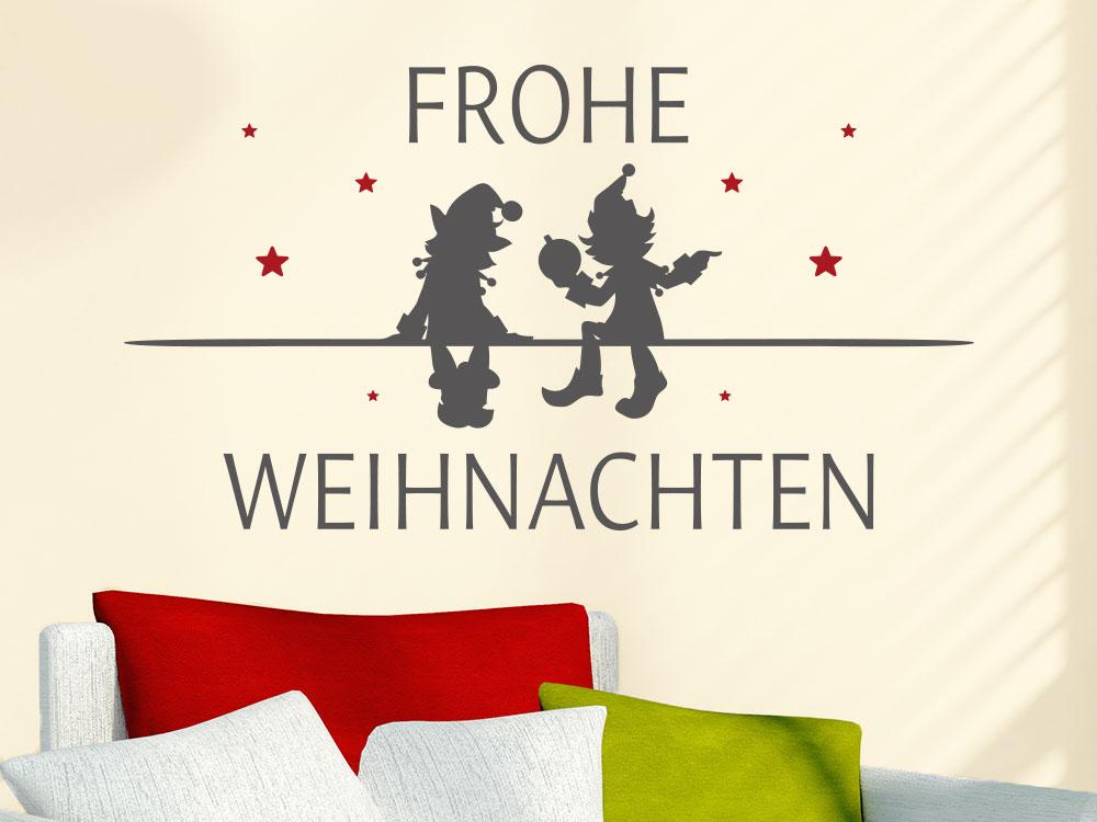 Frohe Weihnachten Wandtattoo mit Wichtel und Sternen