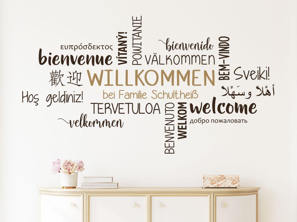 Wandtattoo Willkommen bei Familie in mehreren Sprachen