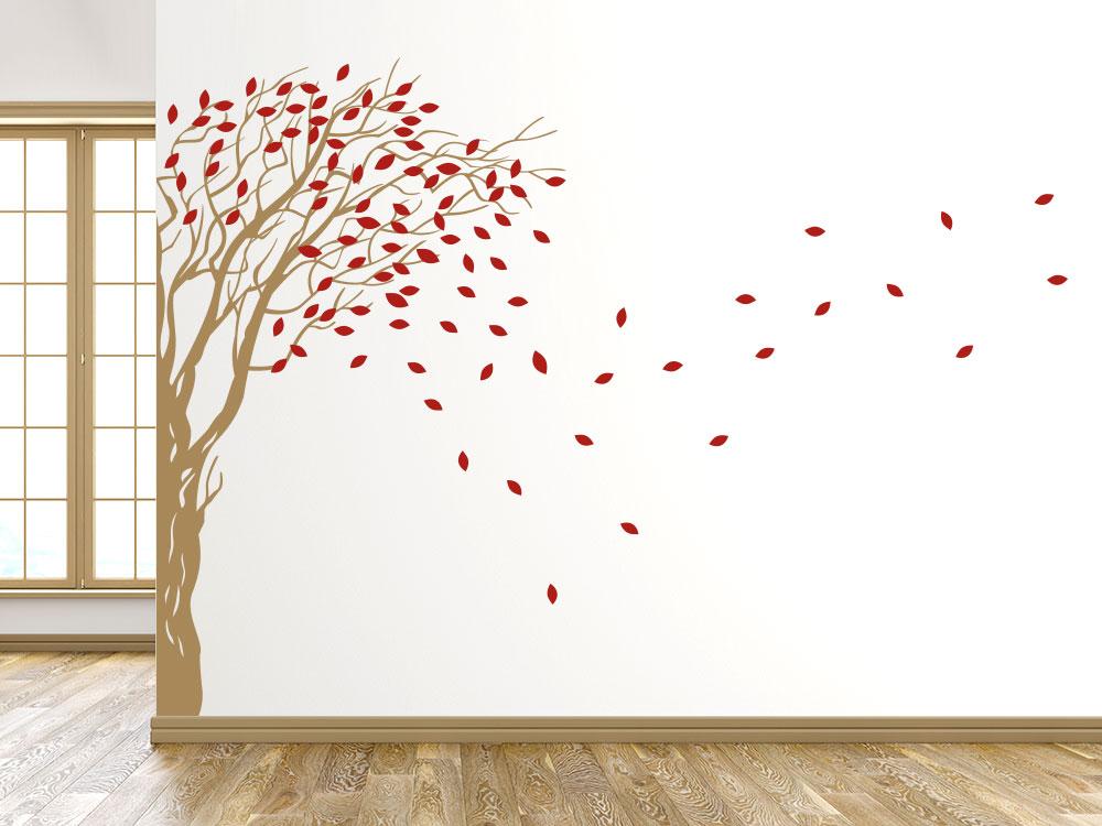 Zweifarbiger Wandtattoo Baum für Wandecke in den Farben Hellbraun / Rot