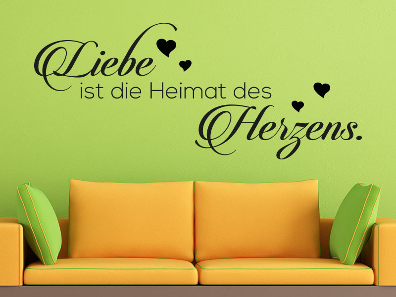 wandtattoo liebe ist die heimat des herzens. Black Bedroom Furniture Sets. Home Design Ideas