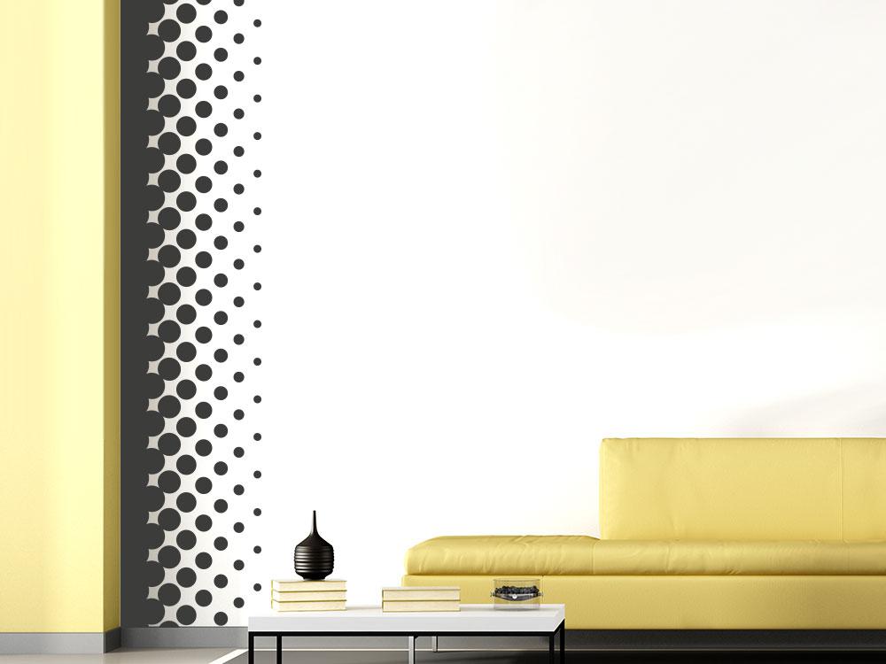 Wandtattoo Wandbanner Design Kreise auf heller Wand in Zimmerecke